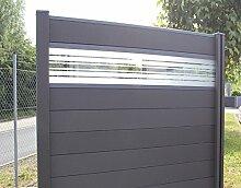 WPC / BPC Sichtschutzzaun dark grey 5 Zäune inkl. 6 Pfosten und Verglasung Sichtschutz Gartenzaun Zaun terrasso