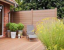 WPC / BPC Sichtschutzzaun terrabraun 1 Zaun inkl. 2 Pfosten Sichtschutz Gartenzaun Zaun