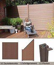 WPC/BPC Sichtschutzzaun terrabraun 10 Zäune, 1 Schrägelement inkl. 12 Pfosten Sichtschutz Gartenzaun