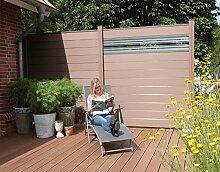 WPC / BPC Sichtschutzzaun terrabraun 5 Zäune inkl. 6 Pfosten und Verglasung Sichtschutz Gartenzaun Zaun terrasso