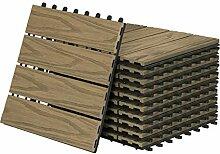 WPC Fliesen Klickfliese 3D Holzstruktur, 11er Set