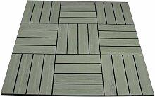 WPC Holz Fliese mit Maserung 30x30cm GRAU 2 m²