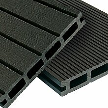 WPC Terrassendielen Komplett-Set Anthrazit Grau | 52m² (4m x 13m) Holz-Brett Dielen | Boden-Fliesen inkl. Unterkonstruktion & Clips | Balkon Boden-Belag + rutschfest + witterungsbeständig + recyclebar