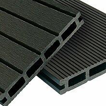 WPC Terrassendielen Komplett-Set Anthrazit Grau | 8m² (4m x 2m) Holz-Brett Dielen | Boden-Fliesen inkl. Unterkonstruktion & Clips | Balkon Boden-Belag + rutschfest + witterungsbeständig + recyclebar