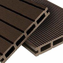 WPC Terrassendielen Komplett-Set Dunkelbraun | 12m² (4m x 3m) Holz-Brett Dielen | Boden-Fliesen inkl. Unterkonstruktion & Clips | Balkon Boden-Belag + rutschfest + witterungsbeständig + recyclebar