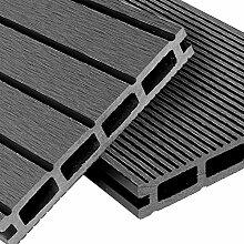 WPC Terrassendielen Komplett-Set Hellgrau | 12m² (4m x 3m) Holz-Brett Dielen Grau | Boden-Fliesen inkl. Unterkonstruktion & Clips | Balkon Boden-Belag + rutschfest + witterungsbeständig + recyclebar