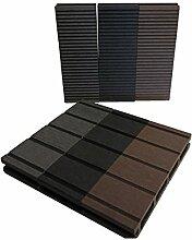 WPC Terrassendielen Qualitätsmuster Anthrazit Grau | Holz-Brett Dielen | Boden-Fliesen inkl. Unterkonstruktion & Clips | Balkon Boden-Belag Hand-Muster + rutschfest + witterungsbeständig + recyclebar