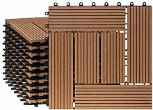 WPC Terrassenfliesen 11 Stück/1 qm Bodenfliesen