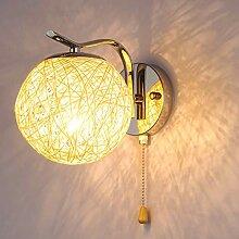 WQ Wandlampe Metall, E27 Stecker, Rund Rattan