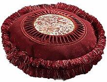 WQQ Kissen Europäische Art runde Kissen gestickte Sofa Matten dreidimensionale Quaste runde Kissen mit Kernkissen einzigen abnehmbaren und waschbaren Bay Fenster (50 * 12CM, der Preis ist ein) ( Farbe : Rot )