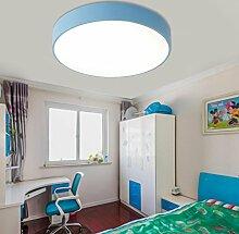 WQRTT® Deckenleuchte Einfache Runde Kinder Jungen und Mädchen Augenschutzlampe Raumleuchten Spielplatz Lampen , blue , 30cm