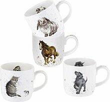 Wrendale Designs Pets Tassen-Set, 4 Stück