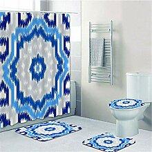wrhua 4Pcs Geometrische Blaue Textur Dusche