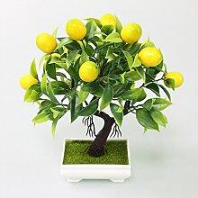 WRTJ Künstliche Kunststoff Pflanzen Gelb Schaum Obstbaum Simulation Pflanze Mini Topf Für Home Party Büro Couchtisch Decor, Gelb