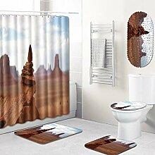 WRTTT Stein 5-teiliges Duschvorhang-Set Bad