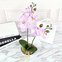 WRXXHZHR Phalaenopsis Set Künstliche Blume Orchidee Dekoration Home Keramik bonsai Pflanze Lila