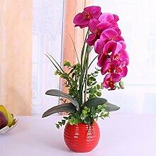 WRXXHZHR Pu Künstliche Blumen Phalaenopsis Dekoration Set Violett A Rote Flasche