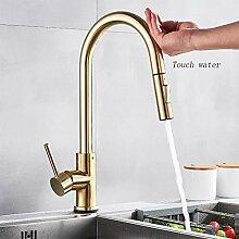 WRYZDQ Gebürstetes Gold Touch Küchenarmatur