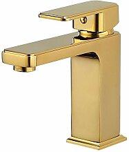 WRYZDQ Goldene Farbe Massivem Messing Waschbecken