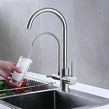 WRYZDQ Mit Filter Küchenarmatur Nickel Gebürstet