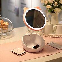 wshfor Niedliche Make-up-Spiegel Tischlampe, Aufbewahrung Touch Up Multifunktions-Touchscreen beleuchtete Eitelkeitsspiegel Little Night Light Pink