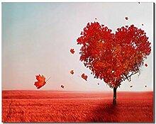 WSHIYI Liebe Herz Baum Ahorn Blätter Poster Print