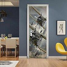 WSNBBEZ 3D Türaufkleber Flugzeug Türtapete