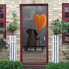 WSNBBEZ 3D Türaufkleber Tierischer Elefant
