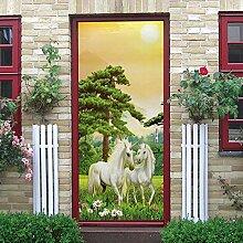 WSNBBEZ 3D Türaufkleber Tierisches Weißes Pferd
