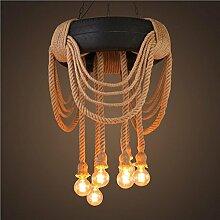 WSND American Style kreativ Retro Industrie-Anhänger-Licht Hanf-Seil-Kronleuchter Schlafzimmer-Bar Café Wohnzimmer Loft Reifen Pendelleuchte, 220V