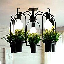WSND Kreative Topfpflanzen-Anhänger-Licht Eisen Kronleuchter Schlafzimmer Bar Café Wohnzimmer Pastoral Pendelleuchte, 220V