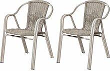 WSV : -41% 2x Terrassenstuhl GIRO - Polyrattan - Gartensessel / Bistrostuhl - Outdoor-Sessel mit Armlehnen - Beige-Grau