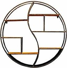 WSWJJXB LOFT runde Wandregal aus Holz und