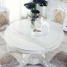 WSYK Runde Tischdecke PVC Tischschoner Transparent