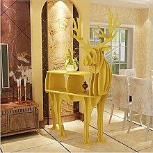 WSZYD Kreative Elch Holz Bücherregal Regal dekorativ Kunsthotel Werkstatt Tierornamente 115 * 57 * 145CM ( Color : Gelb )