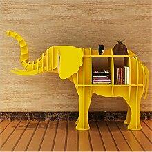 WSZYD Kreative Elefant Tierform Art Deco Hotel Werkstatt Fensterverzierungen 124 Regal Regal * 36 * 84cm ( Color : Gelb )