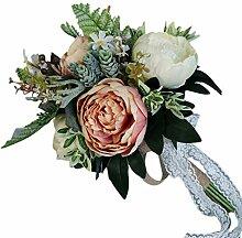 WT Brautstrauß aus künstlichen Pfingstrosen und