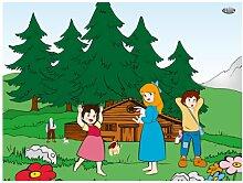 WTD mantiburi FensterBild Heidi - Fröhlich Kinderzimmer 48x36cm/nicht spiegel-/seitenverkehr