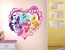 WTD WandTattoo My little Pony - Herz Wandsticker, Wandtattoo, Wanddesign, Wandvorlage, Kinderzimmer, Pferd, Mdchen, Schnrkel, Pink nicht spiegel-/seitenverkehrt, 95x97cm