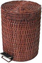 WTL Mülleimer Rattan Trash mit Abdeckung Trash Hand Made Aufbewahrungskiste ( Farbe : Braun , größe : 7l )