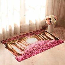 WTL Teppich Romantische Kirsch-Tür in die Heimat Matten Pink Pastoral Happy rutschfeste Schlafzimmer Matratze ( größe : 44cm*68cm )