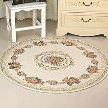 WTL Teppich Runder Teppich kontinentaler Teppich Schlafzimmer Wohnzimmer Make-up Hocker runder Pad Schaukelstuhl runder Teppich Computer Stuhl Kissen ( Farbe : D , größe : 90*90CM round )