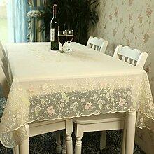 WTL tischdecke Plastik Tischdecke Pvc wasserdicht Anti-Öl Tischdecke Couchtisch Matte ( Farbe : Beige )