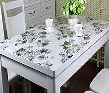 WTL tischdecke PVC-wasserdichte Tischdecke Anti-heiße weiche Glas-Tischdecke Plastik Tischdecke-Tischauflage-Auflage-transparente wolkige Kristall-Platte ( größe : 80*140cm )