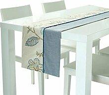 WTL Tischfahne Leinen Stoff Patchwork Stickerei Doppelte Schicht Tee Tisch Esstisch Tischdecke Tischläufer ( größe : 35*180cm )