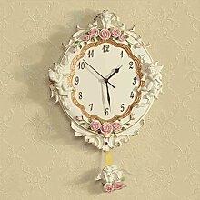 WTL wall clock Clock European - Stil Garten Wanduhr Engel Rose Harz Mute Schwingen Wohnzimmer Creative Art Wanduhr
