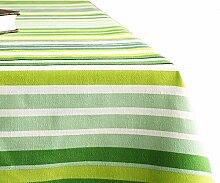 WTY Grüne Gestreifte Tischdecke, Baumwolle und