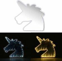 Wuchance Kreative niedliche Einhorn Spiegel Lampe