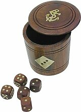 Würfel- Aufbewahrung- Box + 5 Würfeln aus Holz-