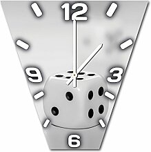 Würfel, Design Wanduhr aus Alu Dibond zum Aufhängen, 48 cm Durchmesser, schmale Zeiger, schöne und moderne Wand Dekoration, mit qualitativem Quartz Uhrwerk